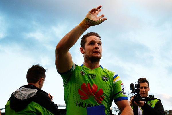 Jarrod Croker of the Raiders celebrates with fans following the round 20 NRL match between the Canberra Raiders and the New Zealand Warriors at GIO Stadium on July 23, 2016 in Canberra, Australia.