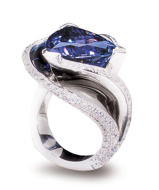 Platinum ring featuring a 12.11ct tanzanite, accented with 1.89ctw of white diamonds.  On permanent display at the National Museum of Natural History