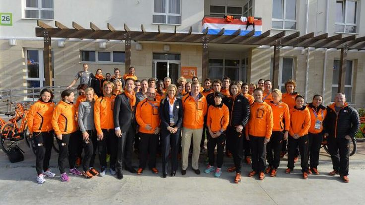 The dutch King and Queen visit the Olympic village.