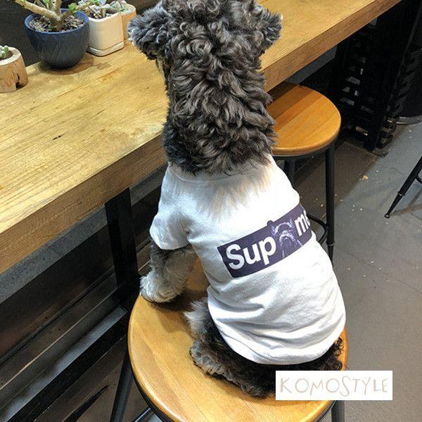 夏向けシュプリーム Tシャツ 犬服 白 薄手 通気 Supreme ドッグ洋服 快適なペット服 シュナウザー 小型犬洋服 韓国輸入 激安通販 Dog Tshirt Supreme Doggo