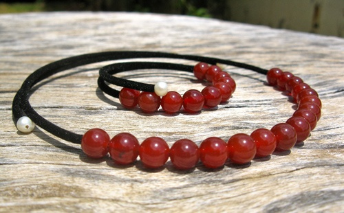 Carnelian choker bangle and Carnelian jewellery set - believed to impart energy and vitality