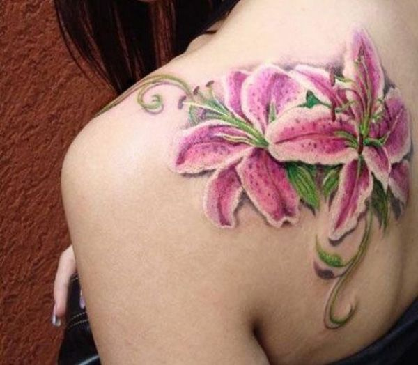 Realistic pink lily tattoo on back - 55+ Awesome Lily Tattoo Designs <3 <3