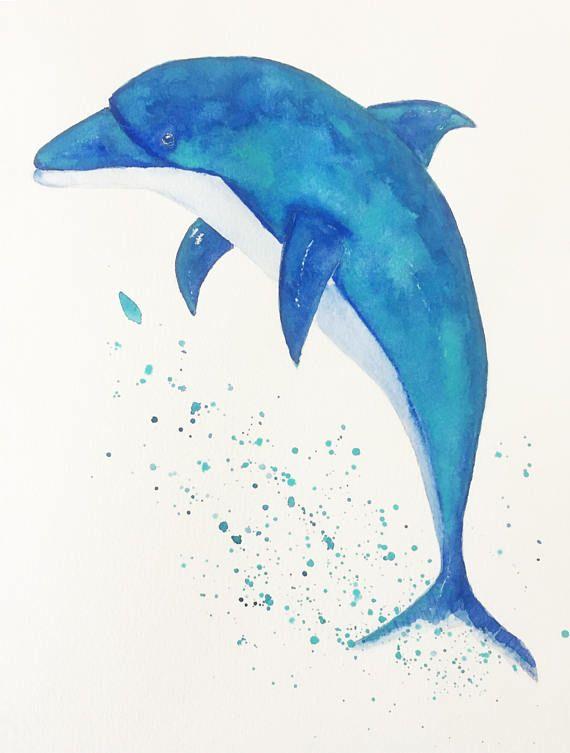 Origineel dolfijn schilderij-zee kunst-kunst voor