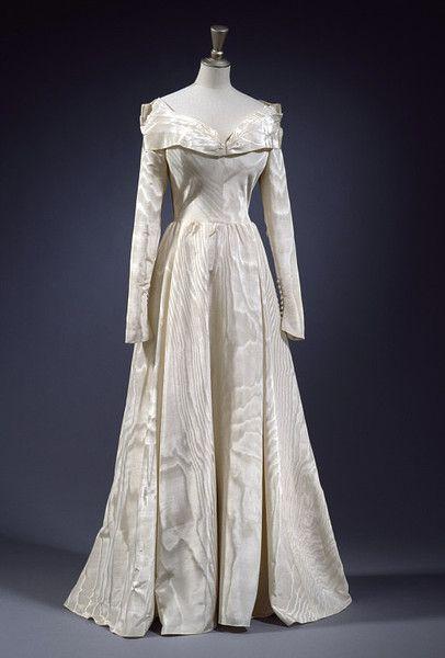 Edward Molyneux, Silk Moire Wedding Gown. British, 1948