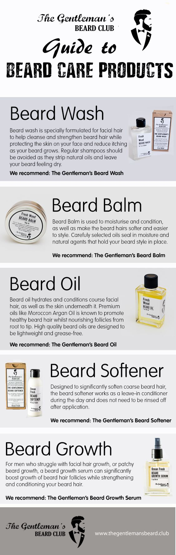 Struggling with beard growth, have a question about beard oil or just want to know how to moisturise or condition your beard for a softer and healthier feel? The Gentleman's Beard Club has this easy to read Guide to Beard Care Products to answer all your grooming questions (and there's also some great ideas for Christmas Gifts)!
