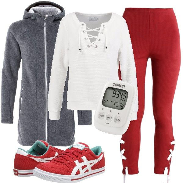 In questo outfit ho inserito una felpa con scollo a V tenuto chiuso da incroci di lacci, leggings rossi, sneakers, contapassi e una giacca in pile per un clima più rigido. Un outfit adatto per una camminata all'aria aperta.