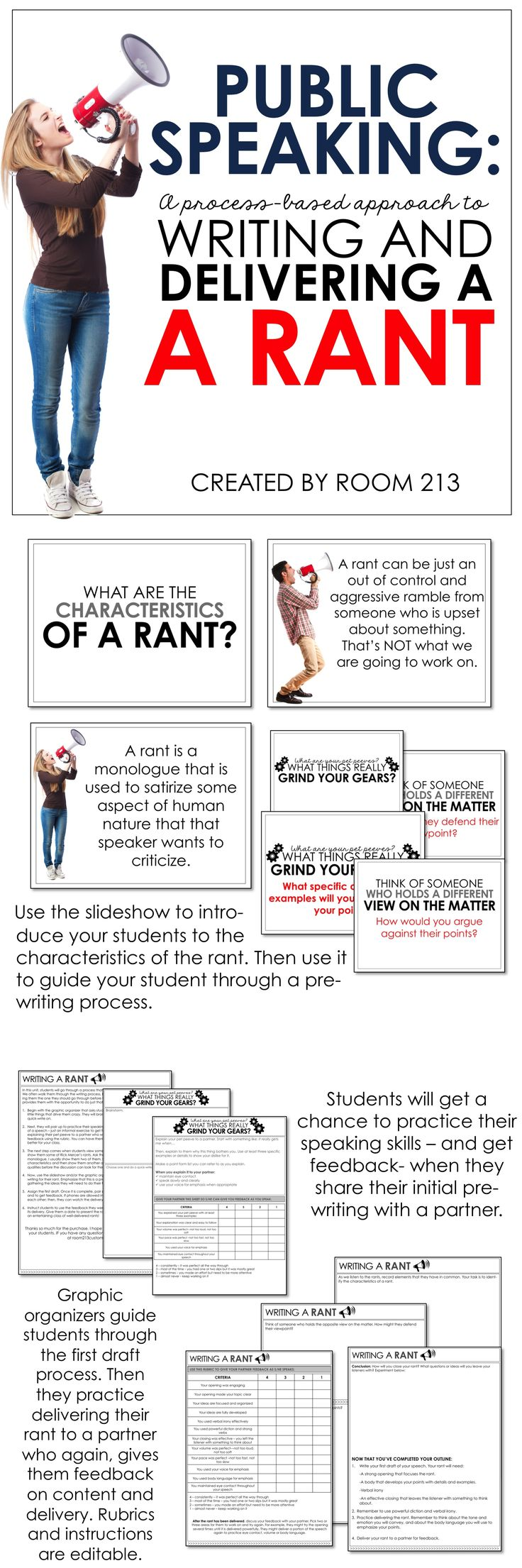 Middle and high school English teachers: use this public speaking activity to engage your students and to teach them the speaking process.