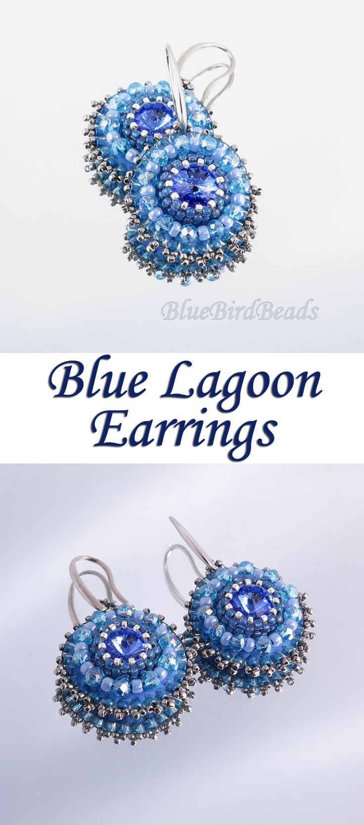 "Sparkling ""Blue Lagoon"" Earrings with Rivoli and Rondelle Crystals. #earrings #jewelry #Rivoli #Rondelle #beading #fashion"