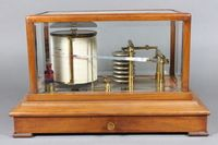 "An early 20th Century walnut cased barograph fitted drawer to  box base 9""h x 14.5""w x 9""d ILLUSTRATED SOLD FOR £360"