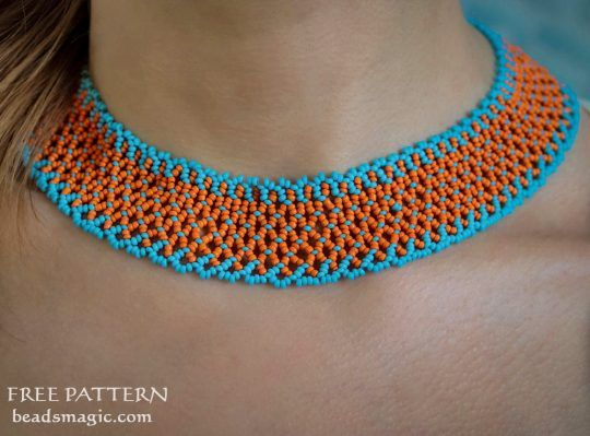 Free pattern for necklace Orange Summer | Beads Magic