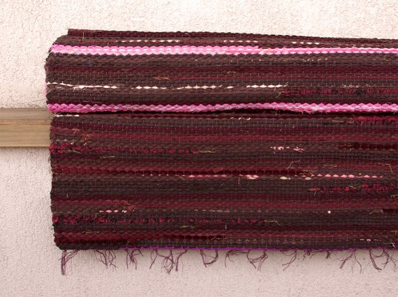 Hand woven Rag Rug  pinkbrown  burgundy 233' x 837' by dodres, $82.00