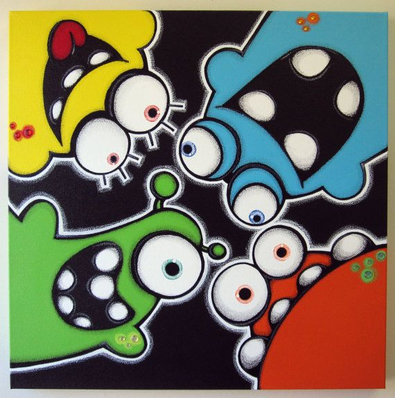 pEEkAbOO aLiENS - 24x24 original painting on canvas - FREE SHIPPING - can be flipped any way