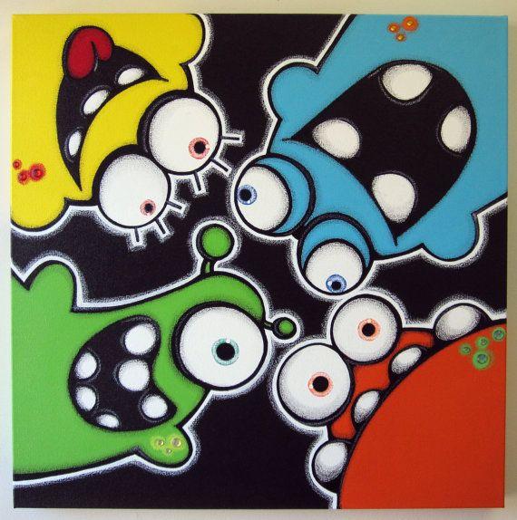 pEEkAbOO aLiENS  24x24 original painting on par art4barewalls, $150.00