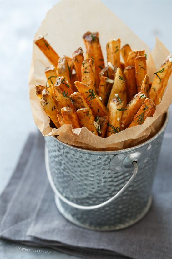 Homemade French Fries with Fresh Garlic & Dill via Love and Olive Oil #recipe