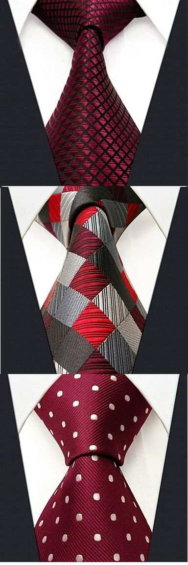 Stylish silk red neckties. Get one for your husband to match his suit. Explore more with us.