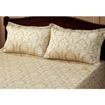 Maspar Damask Gauge Beige King Size Bed Sheet
