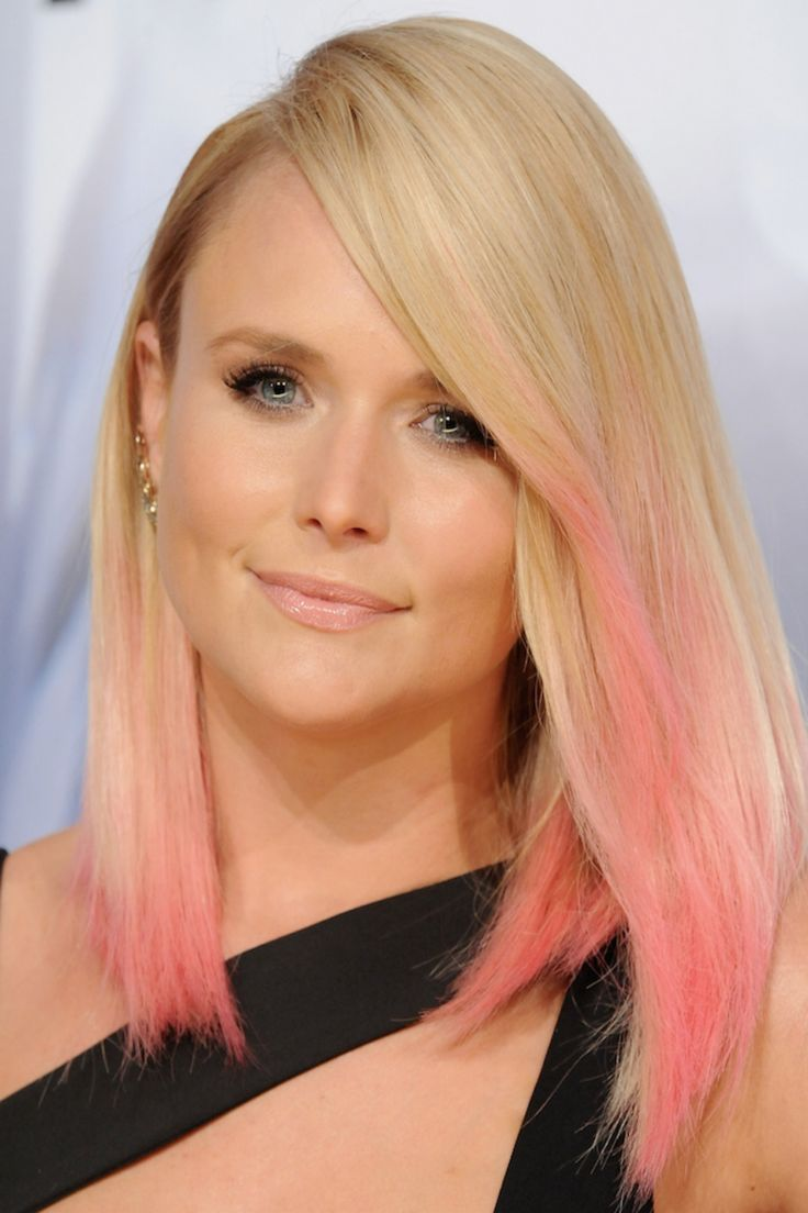 Miranda Lambert The country singer debuted pink dip-dyed tips at the 2015 CMAs right after news broke that ex-husband Blake Shelton is dating Gwen Stefani. The light pink pairs well with the blonde, giving it a fun jolt of color that still compliments her skin tone.   - Redbook.com