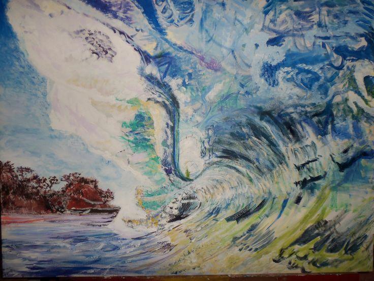 30x40 Canvas Waves Acrylic -Andrea Mekas
