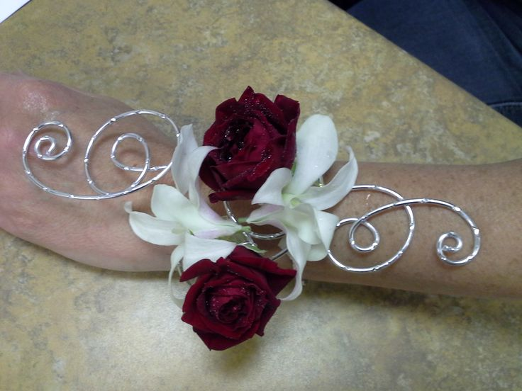 Red rose and white dendrobium orchid prom armband
