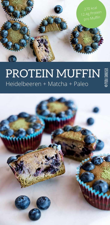 Protein Muffin mit Heidelbeeren und Matcha Pulver. Glutenfrei, Laktosefrei und ohne Industrie Zucker.
