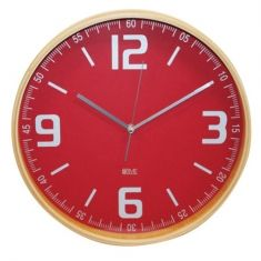 Wall clock lime wood with red face