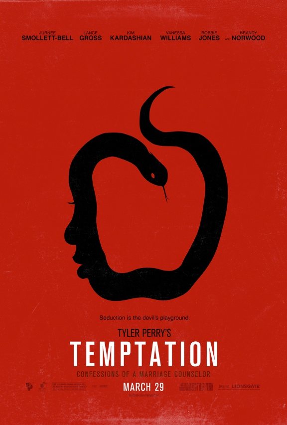 We like it! Seduction is the devil's playground. Tyler Perry's #Temptation - in theaters March 29th. #print #design