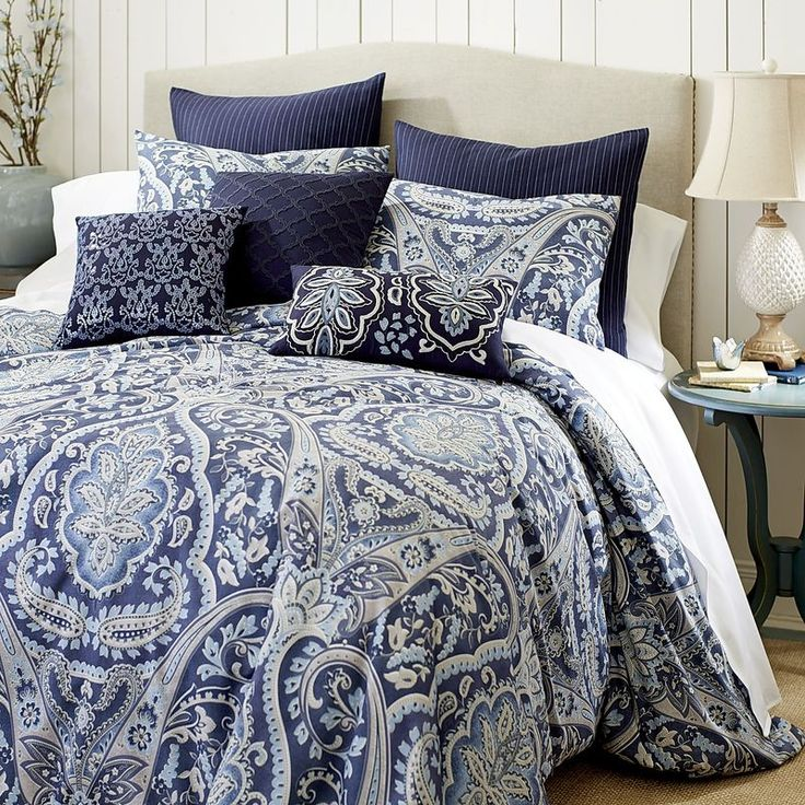 Cool, soothing blues dance and sing to create an instant hit in your bedroom. Our smooth, cotton duvet cover and shams star with an exquisite paisley print and happily share the spotlight with decorative pillows that each brings a talent to the show—intricate embroidery, shiny sequins and sophisticated textures. The result? A beautiful bedroom retreat where you can drift off to sleep in harmony.