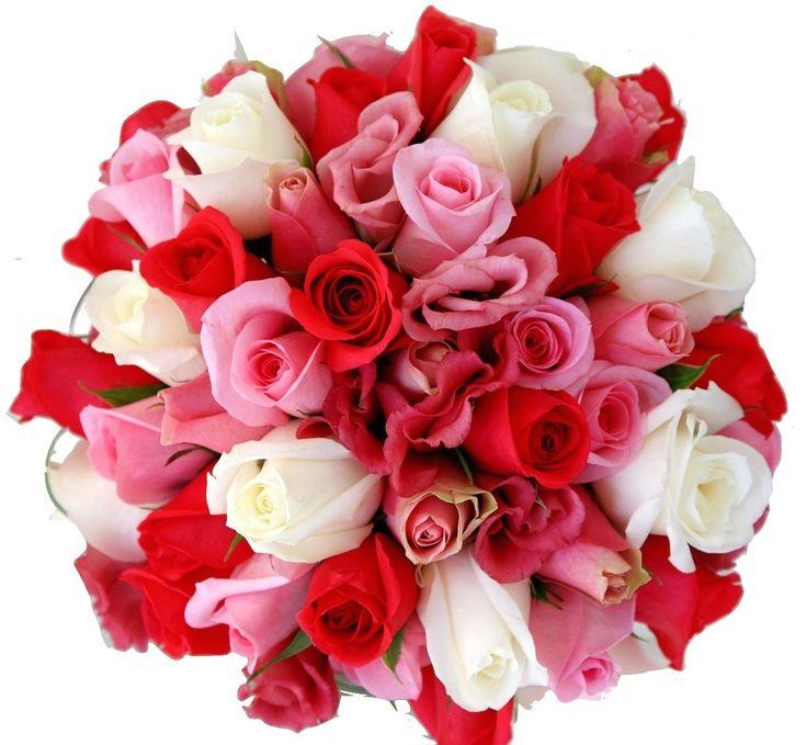 Encantador bouquet de Rosas rosadas, blancas, fucsia y rojas a domicilio en Colombia