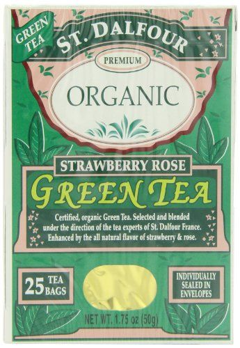 ST. DALFOUR Organic Green Tea, Tea Bags, Strawberry Rose, 1.75-Ounce Bags, 25-Count Boxes (Pack of 6) - http://goodvibeorganics.com/st-dalfour-organic-green-tea-tea-bags-strawberry-rose-1-75-ounce-bags-25-count-boxes-pack-of-6/