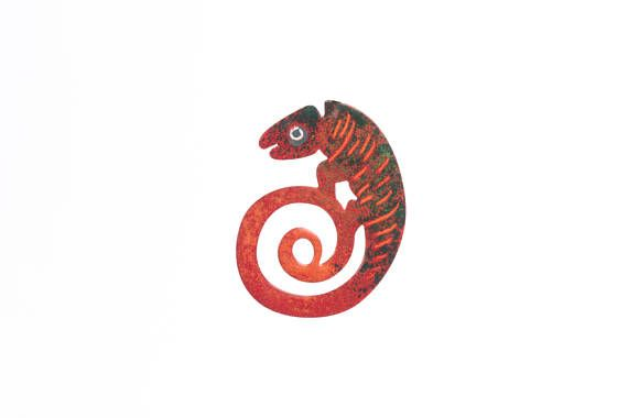 Hand Painted Stainless Steel Red Chameleon Brooch  Chameleon