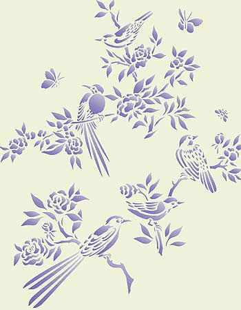 Small Chinoiserie Birds Stencil Not a silhouette but pretty and I'll probably be able to find it best on this board.