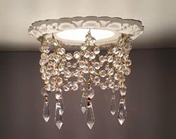 Looks easy to make & would be a fun way to dress up a recessed light! Endless possibilities with different color beads & crystals!