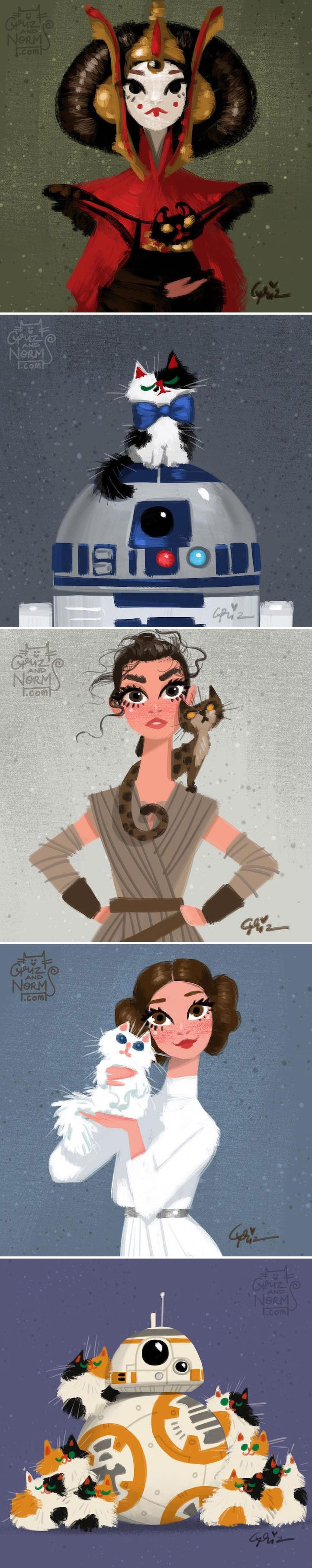Disney animators Griz and Norm Lemay used their latest series of illustrations to combine two of their favorite things: Star Wars and cats. While this may seem like a highly unusual combination, the artists masterfully managed to pick out the perfect feline companion for each of their Star Wars characters.