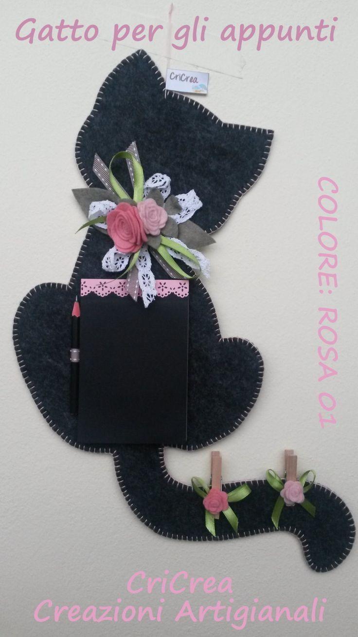 Gatto per gli appunti - feltro e pannolenci - Cat Felt clipboard with notepad, handmade !!! di CriCrea su Etsy