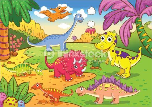 Vector Art : Cute dinosaurs in prehistoric scene
