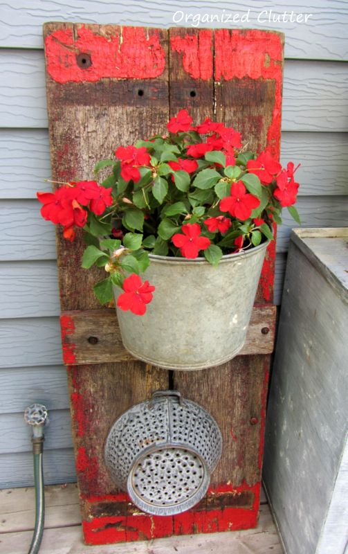 #pottery #planters #pots #containers Wagon Board Backdrop for Galvanized Pail Planter