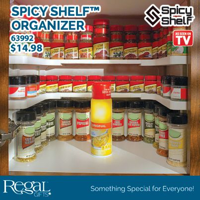 "SPICY SHELF™ ORGANIZER  Turn a mess of spices into an organized masterpiece! 3 Levels of organization! Organize your spices, medicine, cosmetics and much more. Adjustable so it can fit into any cupboards existing pins or use the free-standing legs. Height is also adjustable by using short or long legs. Easily expands and contract for easy installation. Fits cupboards 7-3/8"" to 32-3/4"". Shelves are 2""W."