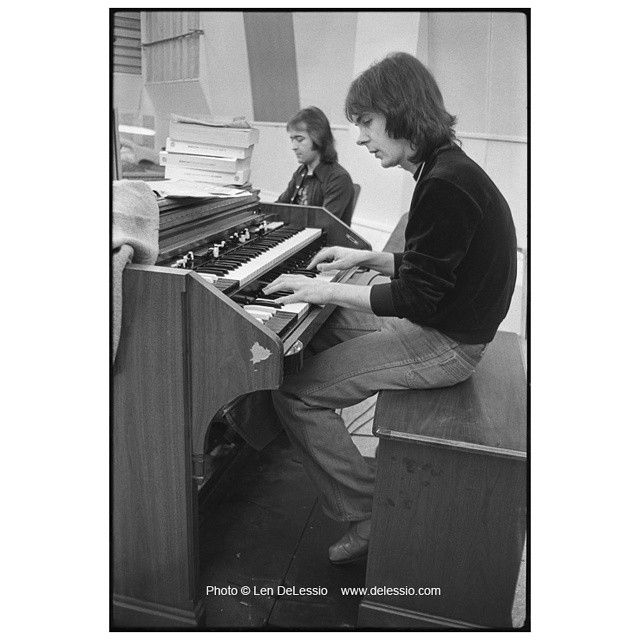 TBT Throwing back this Thursday to 1976. Foreigner recording their first album in the Atlantic Records Studio in Columbus Circle.  Ian McDonald in the foreground,  Mick Jones in the back, both on keys. Neither of them had any idea what the future would hold for them.  Photo (c) Len DeLessio
