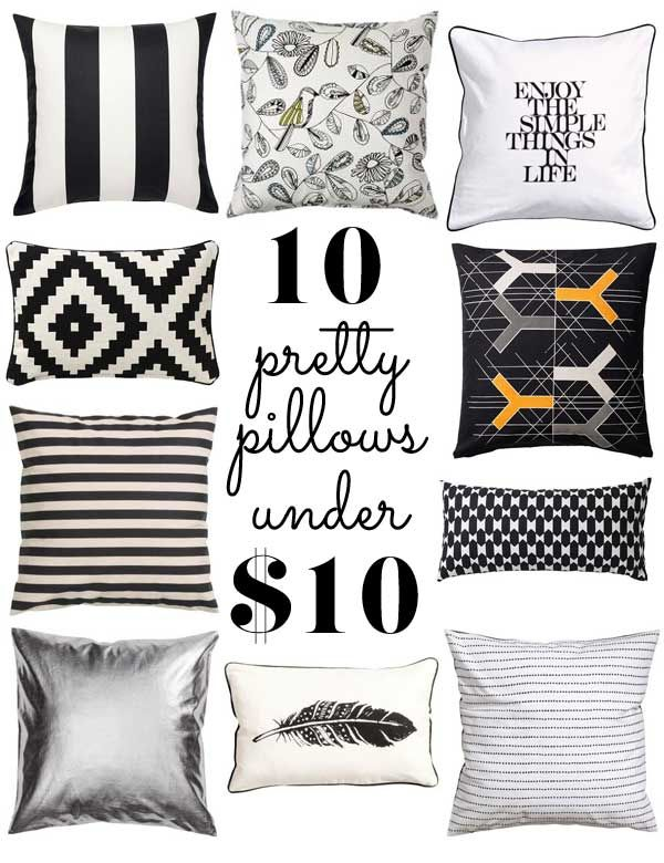 Get your quirk on with this collection of pretty pillows under $10 each. With tons of personality, they're perfect for almost any room.