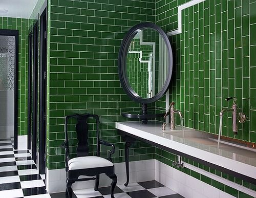 i don't think i would ever dare, but man i love this green tile and the black and white floor.