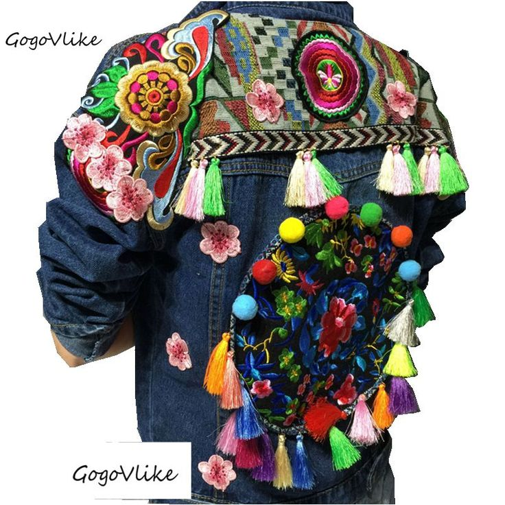 Women fringe jean jacket National trend jaqueta chaqueta bordado tassel floral embroidery handmade  bohemia denim outerwear