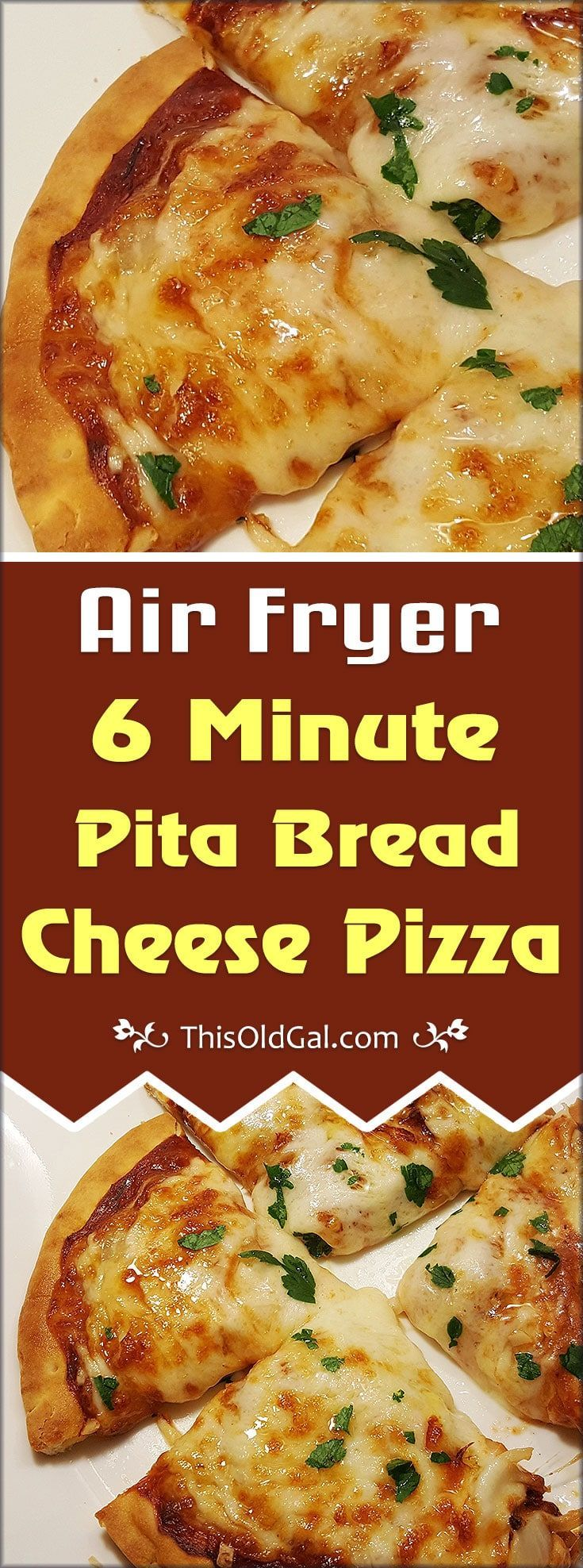 Air Fryer 6 Minute Pita Bread Cheese Pizza with Pepperoni, Onions, Garlic, Sausage is perfect when you want to make a quick lunch or snack. via @thisoldgalcooks