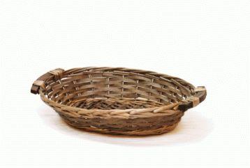 Kurv oval brun 35x25 h9 cm kr. 29,00 Gavekurve i flet, gavekurve med hank…