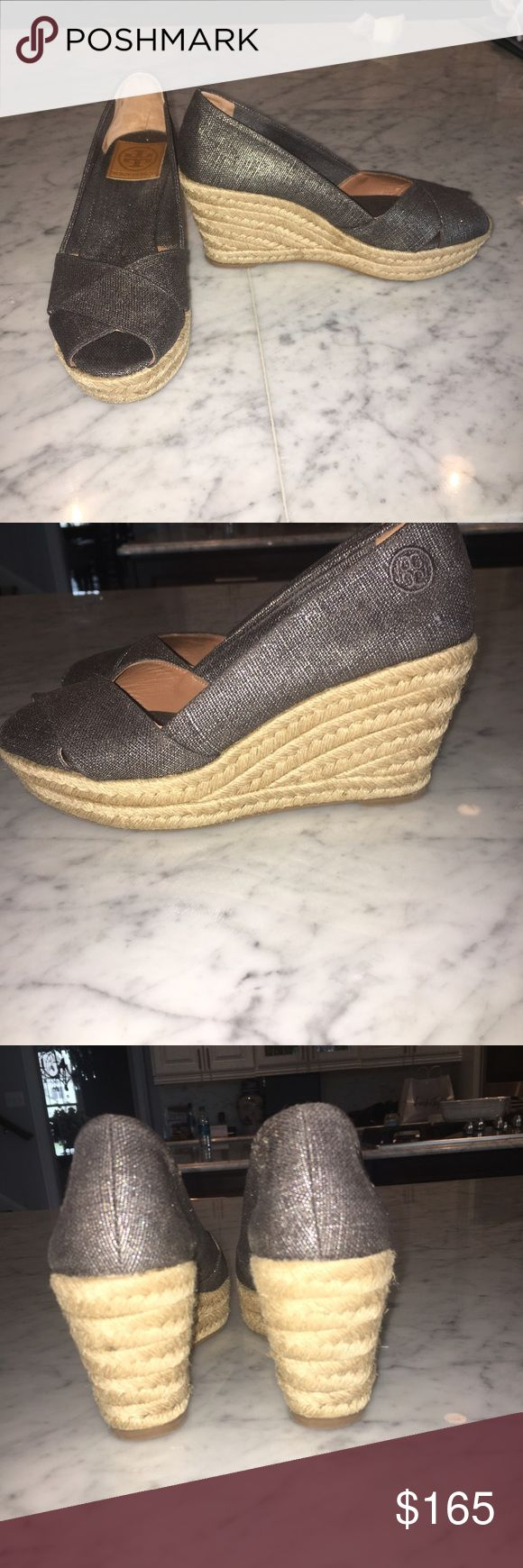 Tory Burch Peep toe espadrille wedge! Worn once, Tory Burch espadrille metallic wedge heel. In perfect condition Tory Burch Shoes Wedges