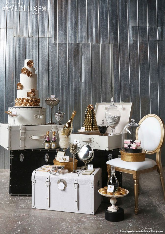 """WedLuxe: """"Taking Flight"""" Style File - styled #wedding shoot inspired by a love of travel and #Chanel. (photo by: Melanie Rebane Photography, #cake and sweet table: The Cake Museum)"""