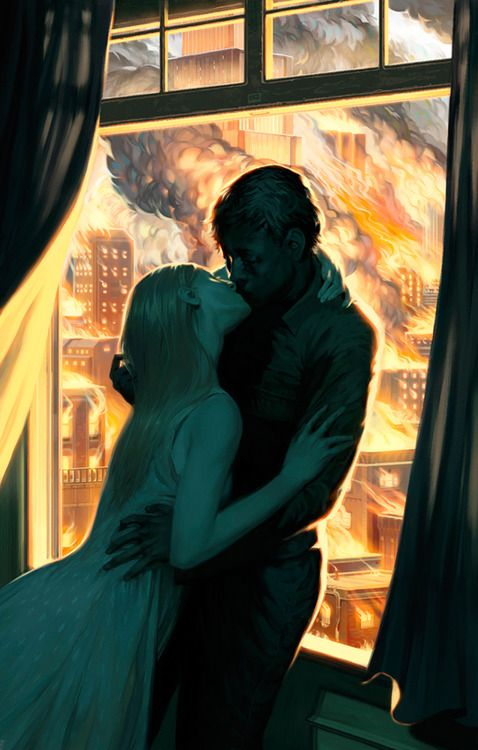 The Art Of Animation, Lizzy John / ville / feu / incendie / vert / jaune / couple / duo / baiser / embrassade / bleuminuit / odeurd'orage / passion / contraste / couleur / composition
