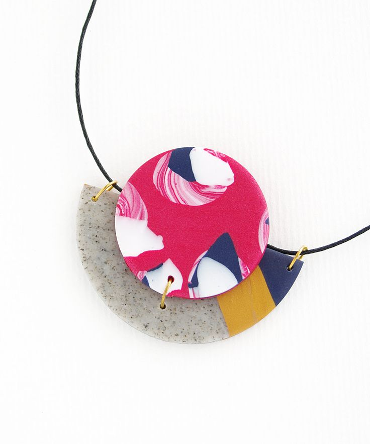 Circle & Half Moon Statement Polymer Clay Necklace in a colour palette of raspberry red, navy blue, white, gold and grey granite. by colourwork on Etsy