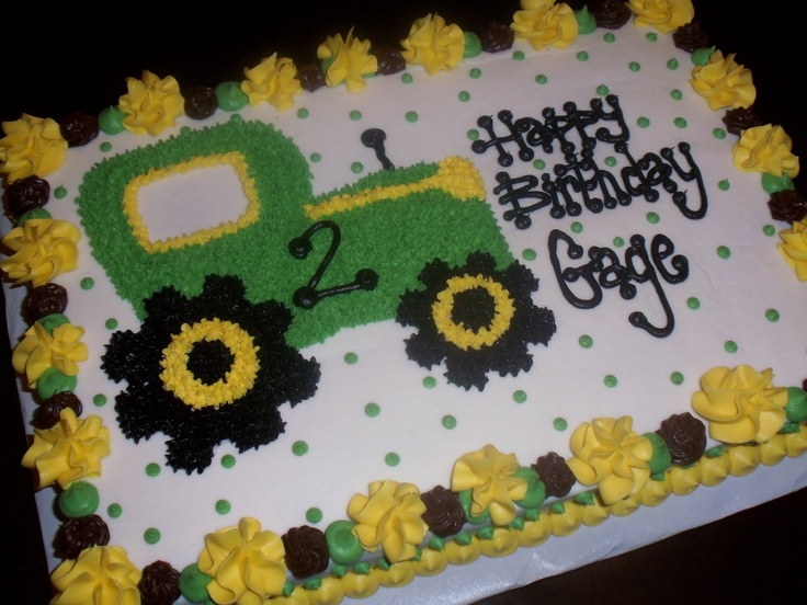 Tractor cake for a little boy....I LOVE the border on it.