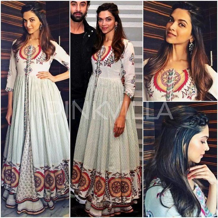 Deepika Padukone looked pretty in a white printed Kalidar from Virsa by Rahul and Shikha at Tamasha special screening. #deepikapadukone @deepikapadukone #fashion #pinkvilla #tamasha