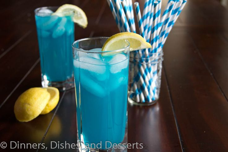 A fun blue twist to a classic lemonade and vodka Ingredients 8 oz lemonade 3 oz blue liquor (UV Blue Vodka, Blue Curacao) Blue food coloring, optional Instructions Mix together lemonade and blue liquor. Add a drop or 2 of blue food coloring for a deeper blue color. Serve over ice. Garnish with lemon if desired